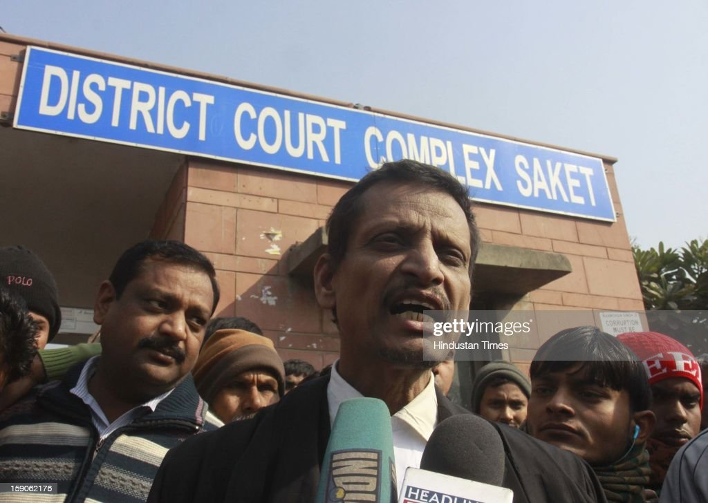 Lawyer M L Sharma talking to media persons after he was denied to defend the accused of gang during hearing at the Saket district court on January 7, 2013 in New Delhi, India. The men are accused of a gang rape of a 23 year old girl who later died due to injuries. The incident has caused outrage across India, sparking protests and demands for tough new rape laws and led to setting of special fast track courts exclusively for offences against women.