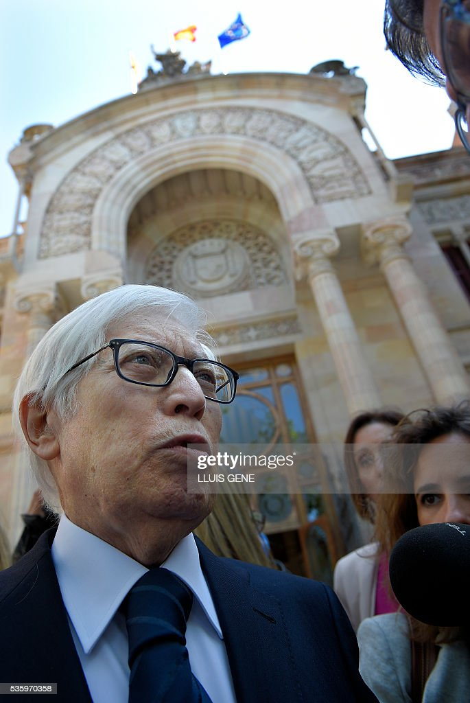 Lawyer of Barcelona football star Lionel Messi, Enrique Bacigalupo (L) talks to the press as he leaves the courhouse in Barcelona where Messi is to face judges in a tax fraud case. Messi and his father, Jorge Horacio Messi, are accused of using a chain of fake companies in Belize and Uruguay to avoid paying taxes on 4.16 million euros ($4.7 million) of Messi's income earned through the sale of his image rights from 2007-09. GENE