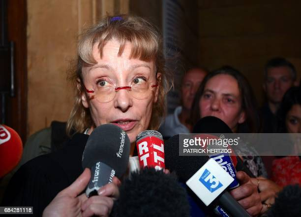 Lawyer of Francis Heaulme Liliane Glock speaks to journalists on May 17 2017 at the Assize Court of Moselle in Metz eastern France following the...