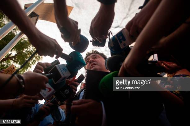 Lawyer of Italian man Francesco Arcuri Adolfo Alonso talks to journalists after leaving the court of Granada where his client was summoned to declare...