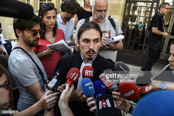 Lawyer of Jacqueline Jacob Gary Lagardette speaks to journalists at Dijon's courthouse on June 20 prior to a hearing as part of the case of the 1984...