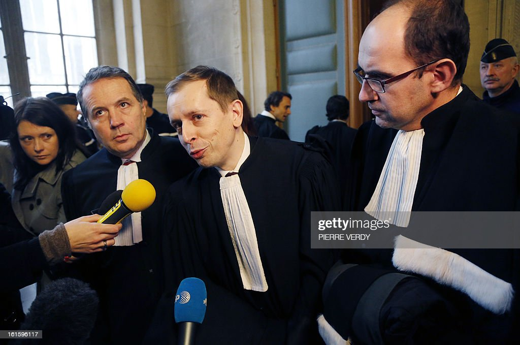 Lawyer of Martine Aubry, Olivier Desandre-Navarre (L), lawyer of victims, Vincent Ohannessian (C) and Jean-Baptiste Rozes, lawyer for volunteers who complained, speak to journalists at the Paris courthouse on February 12, 2013, after the deliberation in the trial of members of former French charity organisation Arche de Zoe (Zoe's Ark), accused of illegal involvement in adoption procedures. The court sentenced two French aid workers to two years in jail for attempting to illegally bring 103 children from Chad to France for adoption, falsely claiming they were orphans from Darfur. Eric Breteau, who founded the Zoe's Ark charity that was involved in the failed attempt, and his partner Emilie Lelouch, were tried in absentia after refusing to show up for the proceedings.