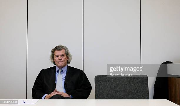 Lawyer of Prince Ernst August of Hanover Hans Wolfgang Euler looks on at the county court of Hildesheim on November 2009 in Hildesheim Germany In...
