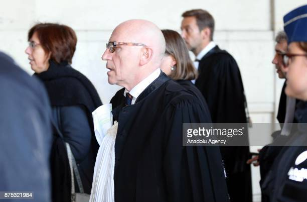 Lawyer Paul Bekaert arrives to hold a press conference for ousted Catalan president Carles Puigdemont at the end of the first hearing in Brussels...