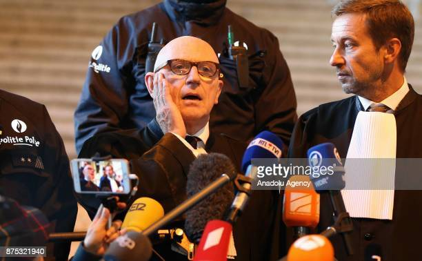 Lawyer Paul Bekaert holds a press conference for ousted Catalan president Carles Puigdemont at the end of the first hearing in Brussels Belgium on...