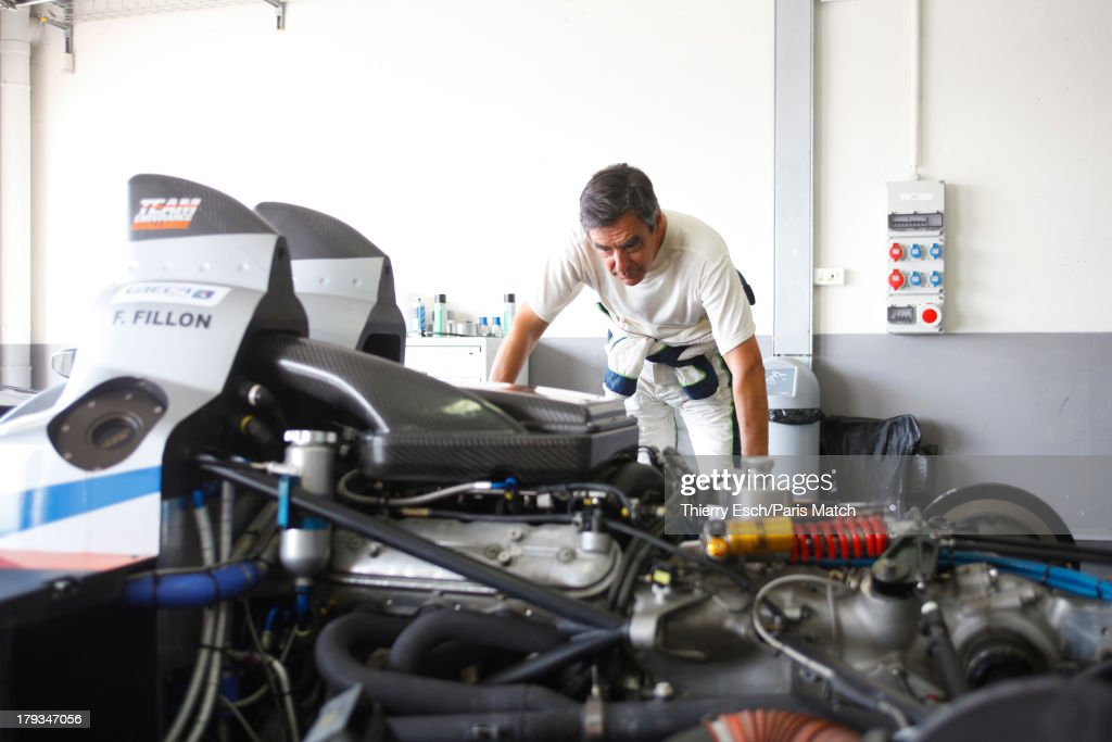 Lawyer, politician and former French prime minister,Francois Fillon a motor sport enthusiast is photographed for Paris Match on August 24, 2013 in Le Castellet, France.