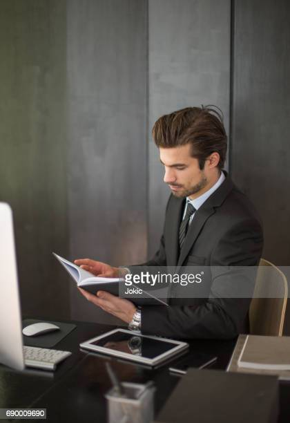 Lawyer preparing for a case in office.