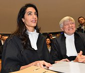 Lawyer representing Armenia Amal Clooney is seen on January 28 2015 before the start of the appeal hearing in Perincek case at the European Court of...