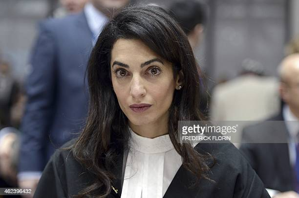 Lawyer representing Armenia Amal Clooney waits on January 28 2015 for the start of the appeal hearing in Perincek case before the European Court of...
