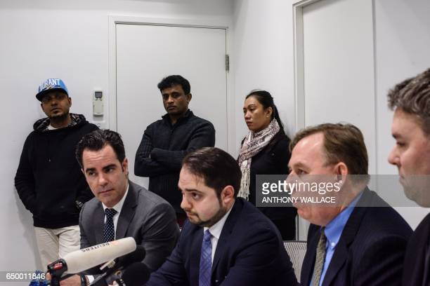 Lawyer Robert Tibbo and his Montreal based Canadian counterparts Francis Tourigny MarcAndre Seguin and Michael Simkin speak during a press conference...