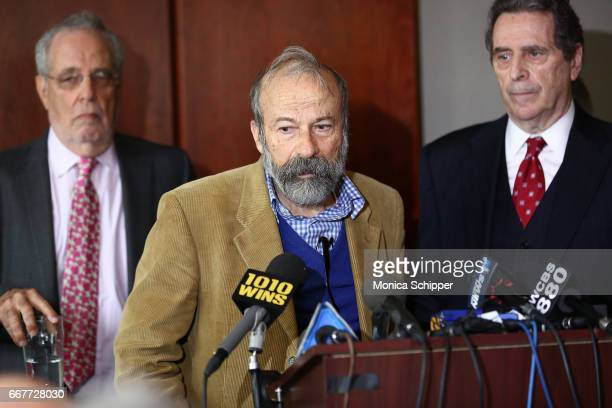 Lawyer Steven Hyman 'Charging Bull' statue artist Arturo Di Modica and lawyer Norman Siegel speak at a press conference addressing legal rights over...