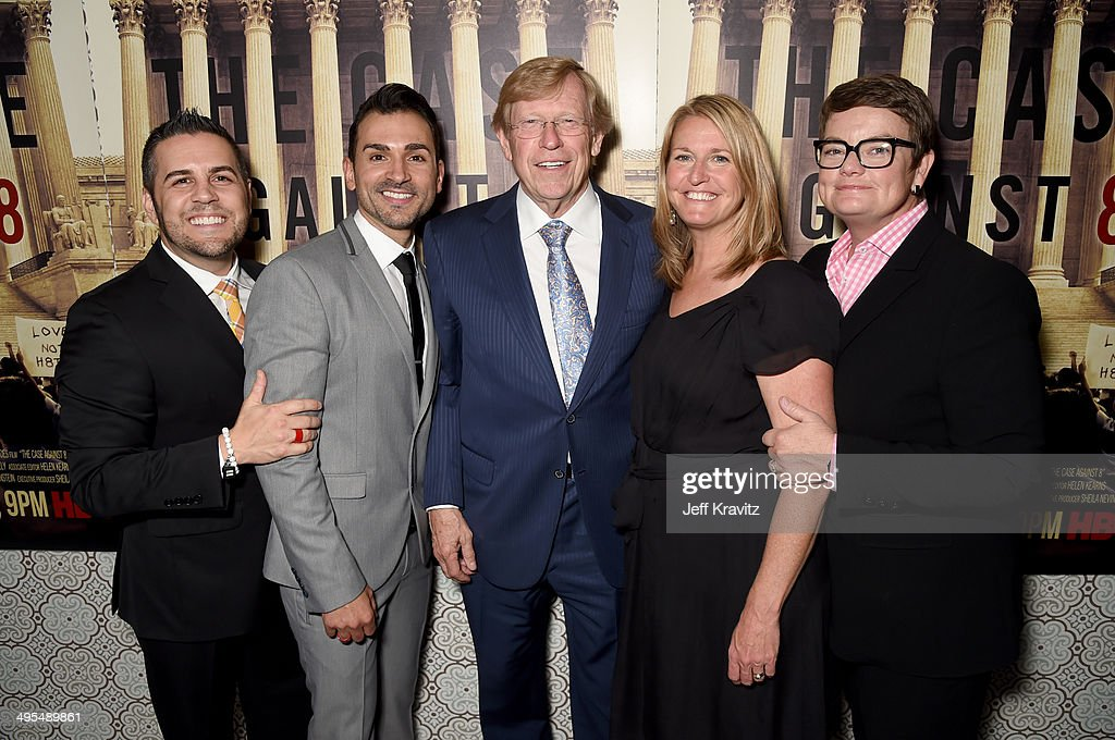 Lawyer Ted Olson (C) and (L-R) documentary subjects <a gi-track='captionPersonalityLinkClicked' href=/galleries/search?phrase=Jeff+Zarrillo&family=editorial&specificpeople=7128712 ng-click='$event.stopPropagation()'>Jeff Zarrillo</a>, <a gi-track='captionPersonalityLinkClicked' href=/galleries/search?phrase=Paul+Katami&family=editorial&specificpeople=7128713 ng-click='$event.stopPropagation()'>Paul Katami</a>, <a gi-track='captionPersonalityLinkClicked' href=/galleries/search?phrase=Sandy+Stier&family=editorial&specificpeople=7128704 ng-click='$event.stopPropagation()'>Sandy Stier</a> and <a gi-track='captionPersonalityLinkClicked' href=/galleries/search?phrase=Kris+Perry&family=editorial&specificpeople=2489335 ng-click='$event.stopPropagation()'>Kris Perry</a> attend the Los Angeles Premiere of the new HBO documentary 'The Case Against 8' at DGA Theater on June 3, 2014 in Los Angeles, California.