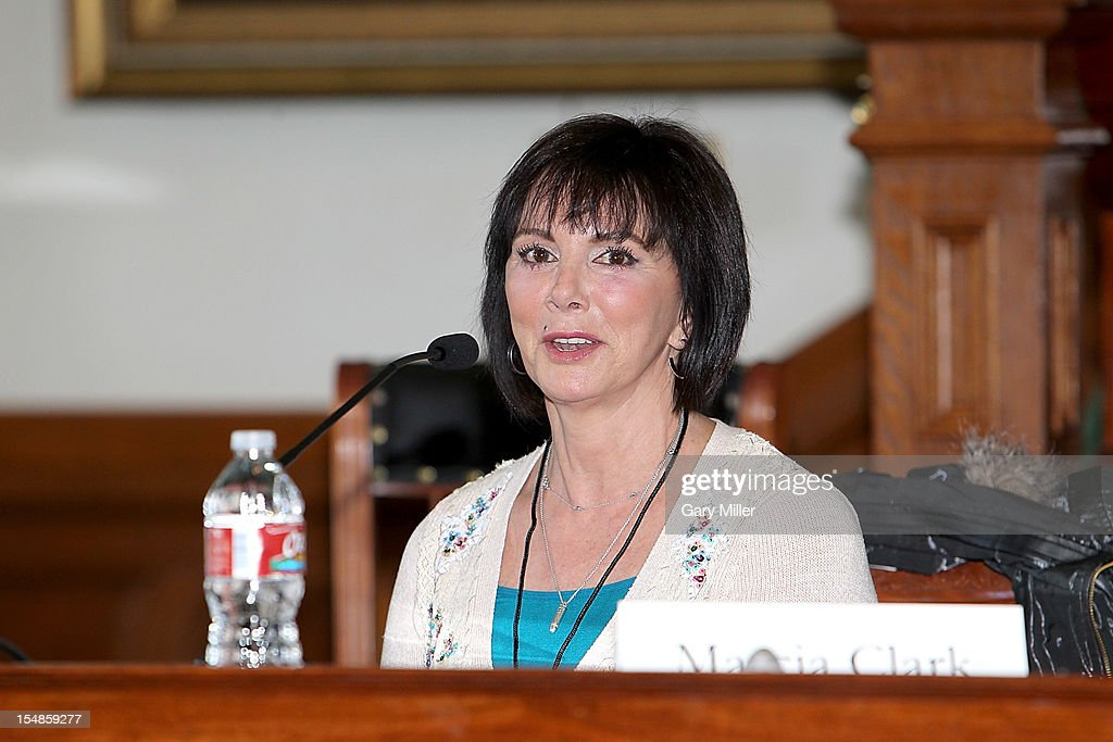 Lawyer/author <a gi-track='captionPersonalityLinkClicked' href=/galleries/search?phrase=Marcia+Clark&family=editorial&specificpeople=1540027 ng-click='$event.stopPropagation()'>Marcia Clark</a> speaks about her new book 'Guilt By Degrees' during the Texas Book Festival at the State Capitol on October 27, 2012 in Austin, Texas.