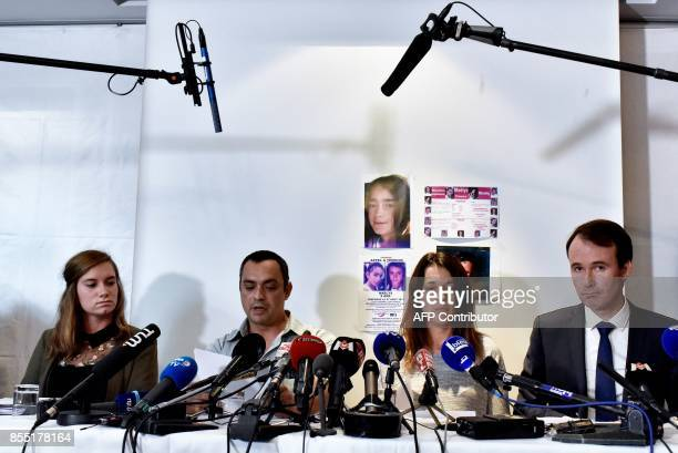 Lawyers Fabien Rajon and Camille Chatelain together with Joachim and Jennifer de Araujo parents of nineyearold Maelys who went missing from a wedding...