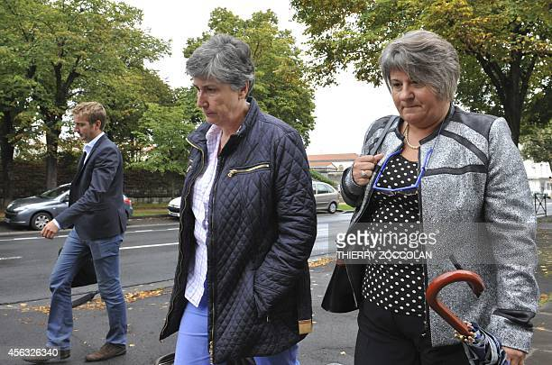 Lawyers Isabelle Mimran and Joelle Diez arrive at the Riom courthouse central France on September 29 2014 before the appeal trial of their client...