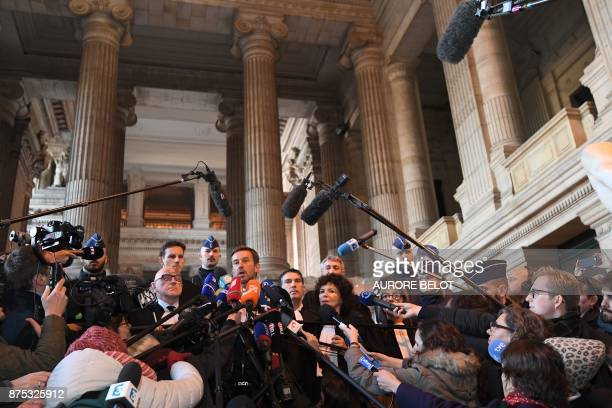 Lawyers of axed Catalan separatist leader Carles Puigdemont including Christophe Marchand talk to the press at the Palace of Justice in Brussels on...