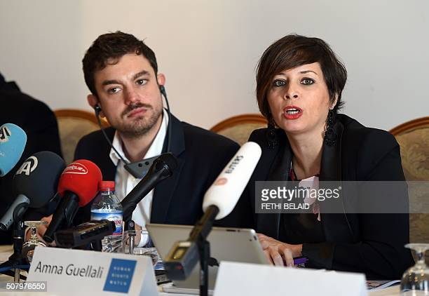Lawyers Without Borders' chief of mission in Tunisia Antonio Manganella and Human Rights Watch's director in Tunisia Amna Guellali give a press...