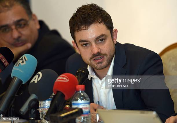 Lawyers Without Borders' chief of mission in Tunisia Antonio Manganella speaks during a press conference on February 2 2016 in Tunis to present a...