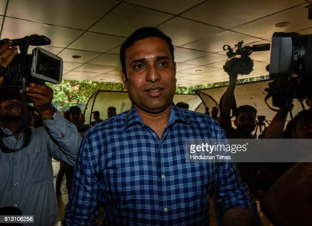 Laxman arrives for a press conference for Indian cricket team coach at BCCI headquarters on July 10 2017 in Mumbai India Ravi Shastri has been...