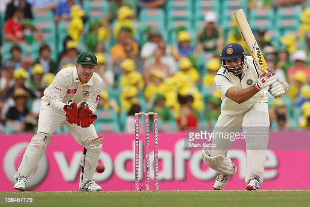 Laxman of India bats during day four of the Second Test Match between Australia and India at the Sydney Cricket Ground on January 6 2012 in Sydney...