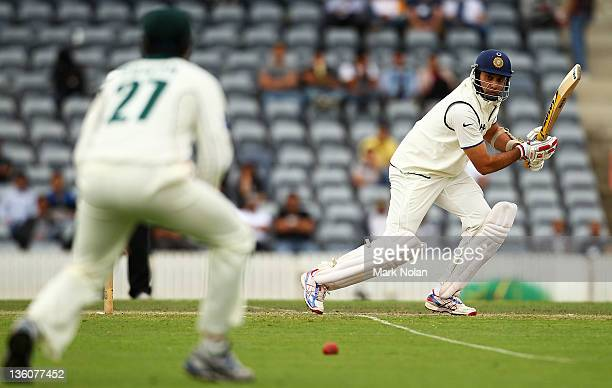 Laxman of India bats during day one of the International Tour match between India and the Cricket Australia Chairman's XI at Manuka Oval on December...