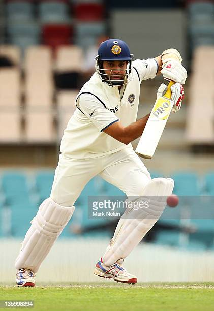 Laxman of India bats during day two of the International Tour match between India and the Cricket Australia Chairman's XI at Manuka Oval on December...