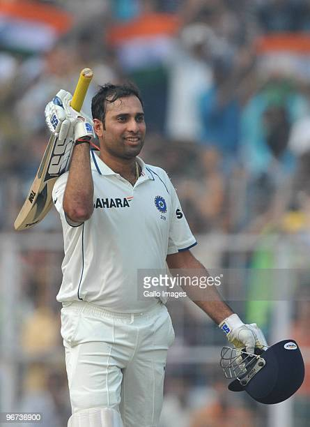 Laxman of India celebrates his 100 during the day three of the Second Test match between India and South Africa at Eden Gardens on February 16 2010...