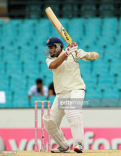 Laxman of India drives during day four of the Second Test Match between Australia and India at Sydney Cricket Ground on January 6 2012 in Sydney...
