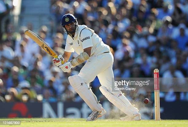 Laxman of India hits out during day four of the 4th npower Test Match between England and India at The Kia Oval on August 21 2011 in London England