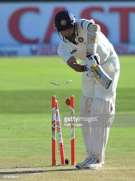 Laxman of India is bowled by Dale Steyn of South Africa for 7 runs during day 1 of the 1st Test match between South Africa and India at SuperSport...