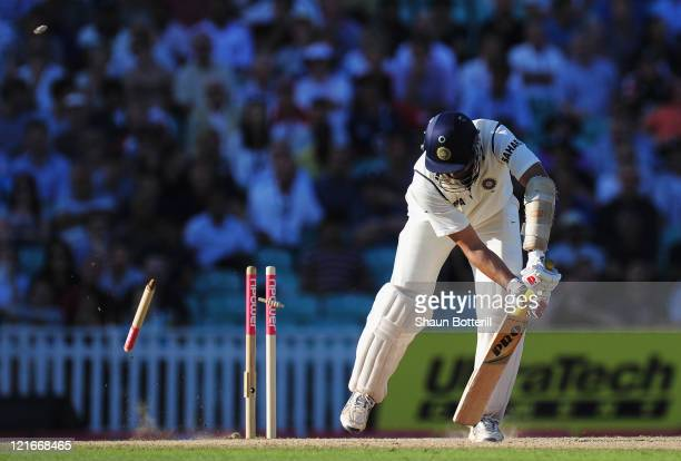 Laxman of India is bowled by James Anderson of England during day four of the 4th npower Test Match between England and India at The Kia Oval on...