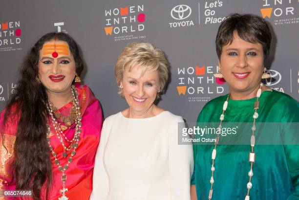 Laxmi Narayan Tripathi Tina Brown and Barkha Dutt attend Eighth Annual Women In The World Summit at David H Koch Theater Lincoln Center on April 5...