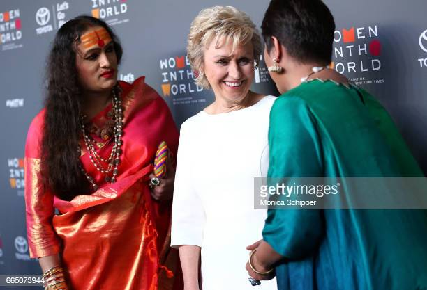 Laxmi Narayan Tripathi Tina Brown and Barkha Dutt attend the 8th Annual Women In The World Summit at Lincoln Center for the Performing Arts on April...