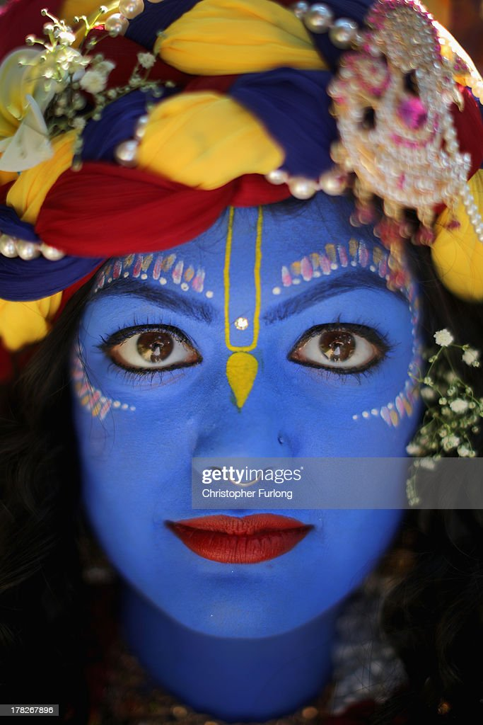 Laxmipriya Patel, aged 20, dressed as the Hindu god Lord Krishna, poses during the Janmashtami Hindu Festival at Bhaktivedanta Manor on August 28, 2013 in Watford, England. Up to 72,000 were expected to take part in the Hindu festival of 'Janmashtami', which falls on August 28 this year, and marks the birth of the Hindu god Lord Krishna. The festival is believed to be the largest Hindu festival gathering outside of India. Bhaktivedanta Manor is also celebrating it's 40th year since the manor house was donated to the Society of Krishna Consciousness by George Harrison in 1973.