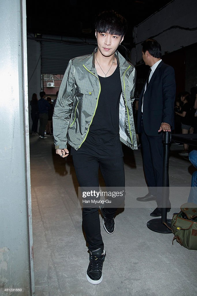 Lay of boy band EXOM attends the Kolon Sport 2014 A/W fashion show on June 25 2014 in Seoul South Korea