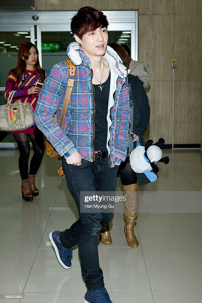 Lay of boy band EXO-M is seen at Gimpo International Airport on January 27, 2013 in Seoul, South Korea.