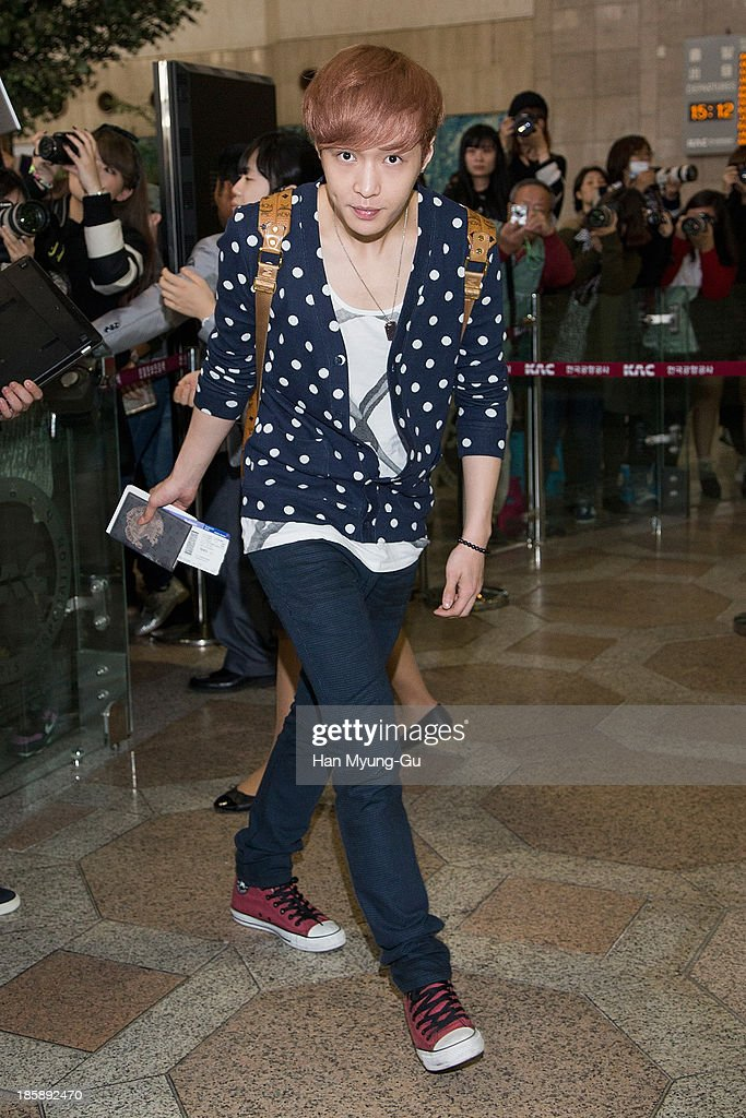 Lay of boy band EXO-M is seen on departure at Gimpo International Airport on October 25, in Seoul, South Korea.
