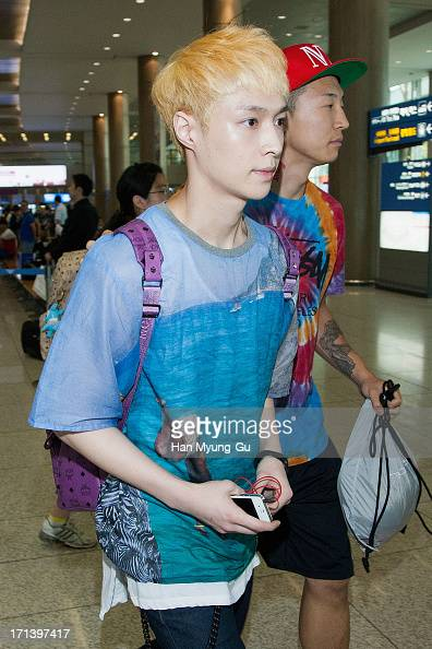 Lay of boy band EXOM is seen upon arrival at Incheon International Airport on June 24 2013 in Incheon South Korea