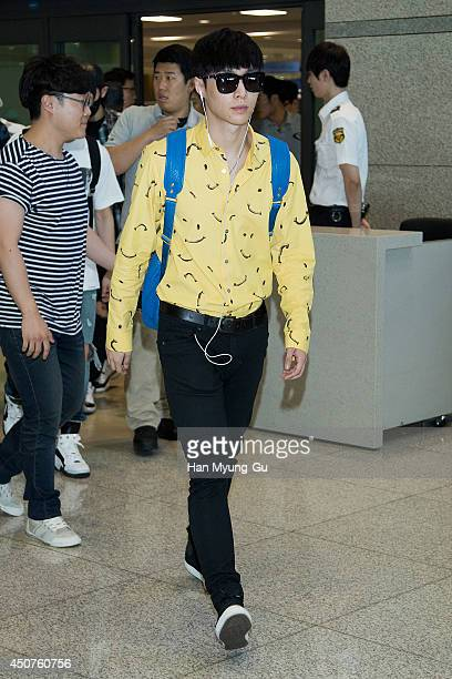 Lay of boy band EXOM is seen upon arrival at Incheon International Airport on June 15 2014 in Incheon South Korea