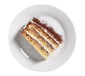Layer cake with buttercream and jam. Isolated on white background.
