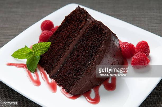 Layered Chocolate Cake with Frosting, Raspberries, Sauce and Mint