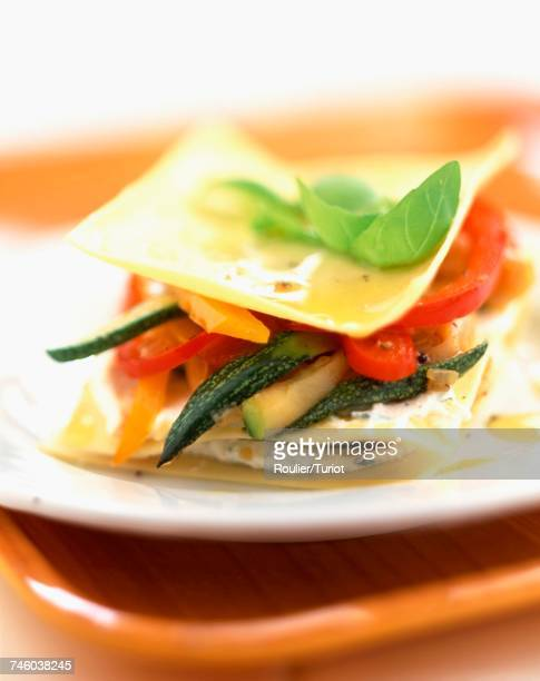 Layered lasagne pasta and vegetable sandwich