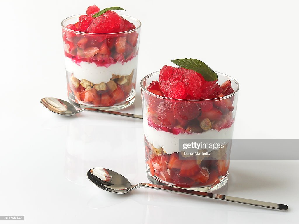 Layered Strawberry Dessert : Stock Photo