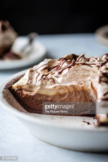 A layered triple chocolate pie, sliced.