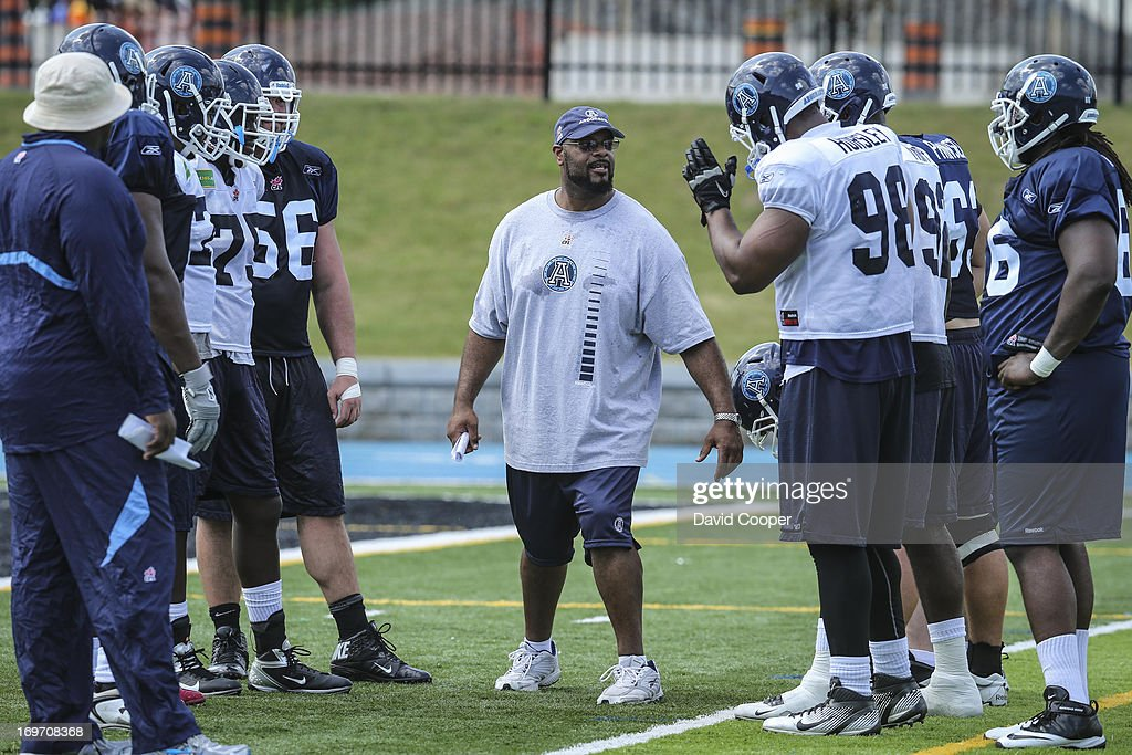 layers during the 2nd day of Argos rookie camp at St. Thomas Aquinas High School field.
