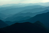 Layers of Blue Ridge Mountains from the Blue Ridge Parkway in Western North Carolina.