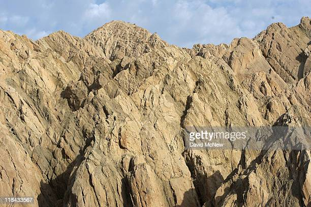 Layers of earth are deformed by the collision of the Pacific and North American tectonic plates along the southern San Andreas Fault north of the...