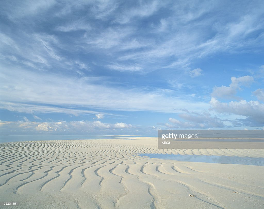 Layers of sand formed on an island in Maldives : Stock Photo