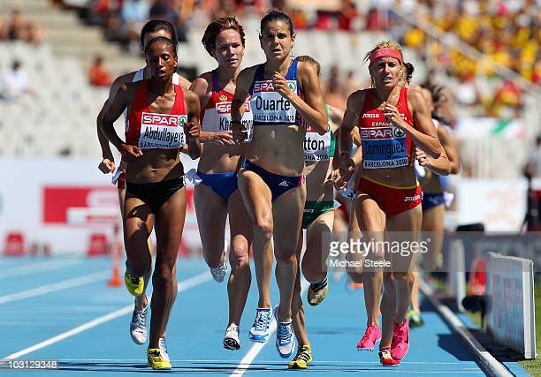 Layes Abdullayeva of Azerbaijan Sophie Duarte of France and Marta Dominguez of Spain compete in the Womens 3000m Steeplechase Heat during day two of...