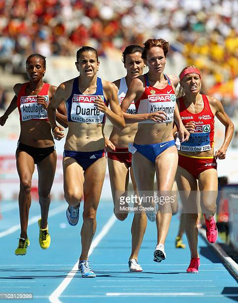 Layes Abdullayeva of Azerbaijan Sophie Duarte of France Lyubov Kharlamova of Russia and Marta Dominguez of Spain compete in the Womens 3000m...